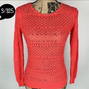 New Direction Crochet Long Sleeve Open Knit Coral
